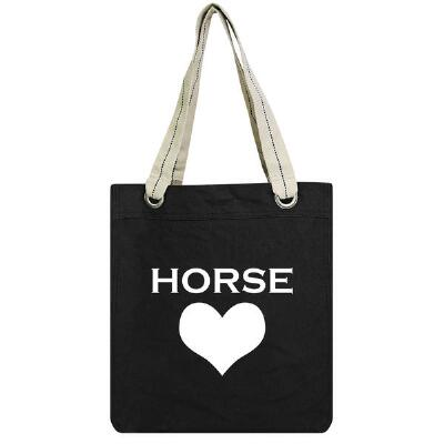 Heart Horse Cotton Canvas Tote Bag