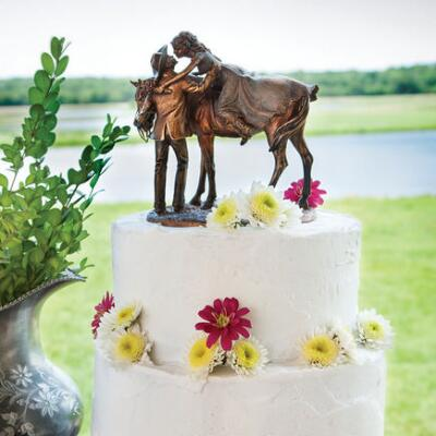 Prairie Rose Western Wedding Cake Topper