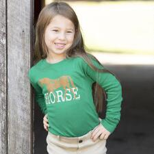 Stirrups Long Sleeve Girls Horse Tee - TB