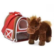 Plush Horse in Barn Carrier - 8 in - TB