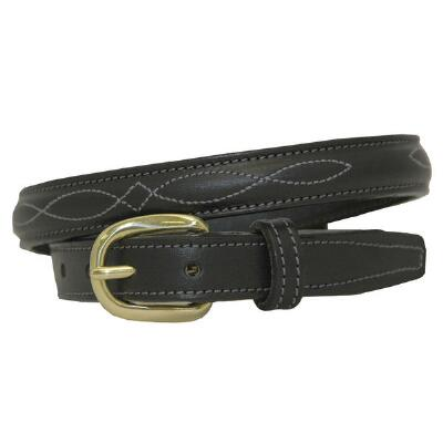 Raised Fancy Stitch .75 Inch Black Unisex Belt