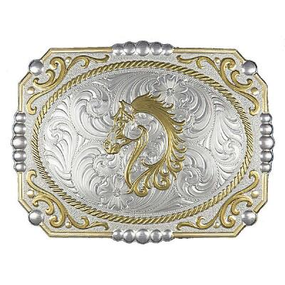 Two-tone Cowboy Cameo Belt Buckle