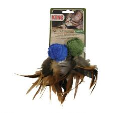 KONG Natural Crinkle Ball With Feathers Cat Toy