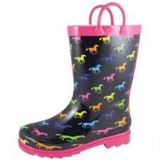 Colorful Running Horse Kids Rubber Boot