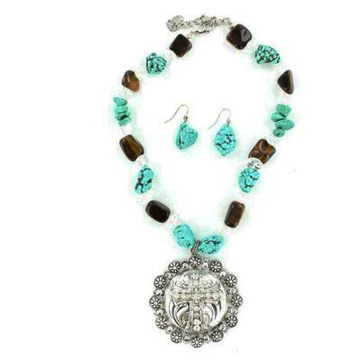Western Charm® Turquoise and Stone Necklace and Earring Set