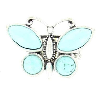 Ring Turquoise Butterfly Stretch Band