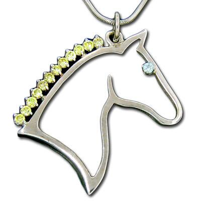 Necklace Horsehead Silhouette Cz Mane Sterling