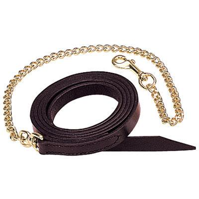 Leather Lead with 24 inch Brass Chain