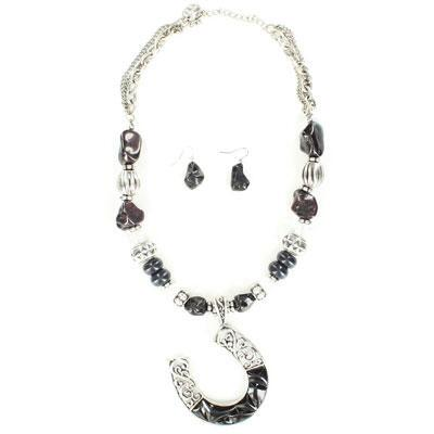 Western Charm® Black Stone and Bead Horseshoe Jewelry Set