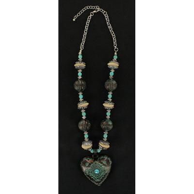 Blazin Roxx Turquoise Heart Patina Necklace