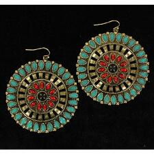Blazin Roxx Turquoise Disc Multi-Stone Drop Earrings