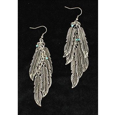 Blazin Roxx Multi Feather Drop Earrings