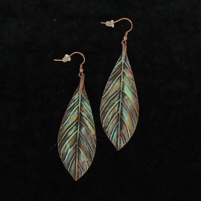 Blazin Roxx Patina Feather Drop Earrings