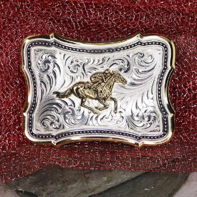 Montana Silversmiths Two-Tone Scallop Point Belt Buckle