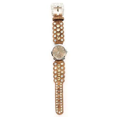 Faux Cowhide and Crystal Ladies Watch