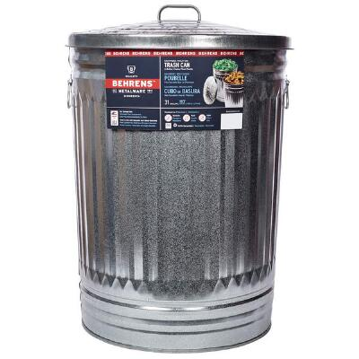 Miller Galvanized Steel Trash Can with Lid 31 Gallon