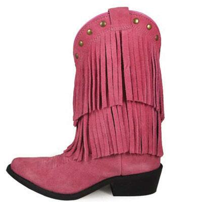 Wisteria Pink Double Fringe Kids Western Boot