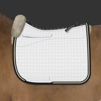 EA Mattes Custom Gold Dressage Square Pad Bound & Double Piped