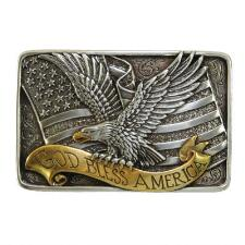 Nocona God Bless America Belt Buckle - TB