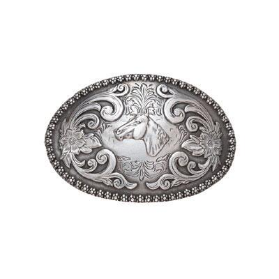 Belt Buckle Horse Head Oval With Floral Edge