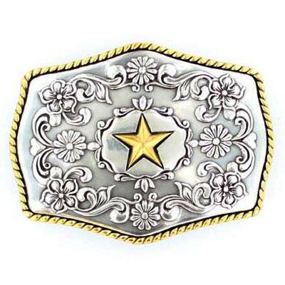 Belt Buckle Antique Silver With Gold Star