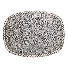 Nocona Rectangle Edge Floral Scrolll Belt Buckle - TB