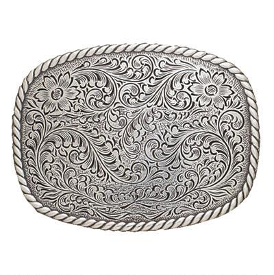 Belt Buckle Rounded Rectangle Floral Rope Edge