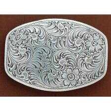 Floral Tooled Smooth Edge Belt Buckle - TB