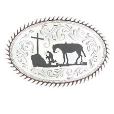Cowboy Prayer Faith Rope Edge Belt Buckle