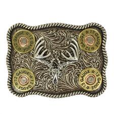 Nocona Buck Skull with 12 Gauge Shotgun Shells Belt Buckle - TB