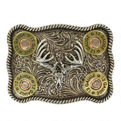 Nocona Buck Skull with 12 Gauge Shotgun Shells Belt Buckle