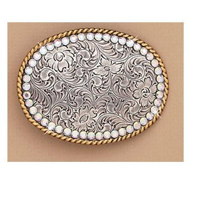 Belt Buckle Oval With Ab Rhinestones