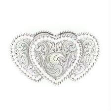 Nocona Triple Heart Crystal Edge Belt Buckle - TB