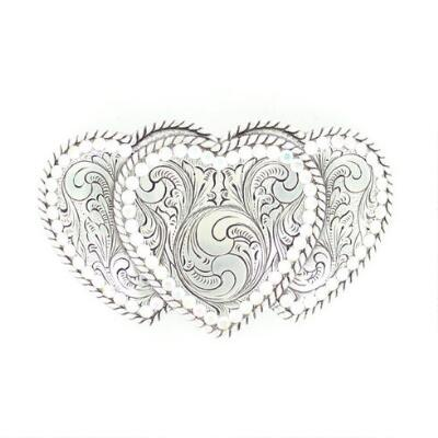 Nocona Triple Heart Crystal Edge Belt Buckle