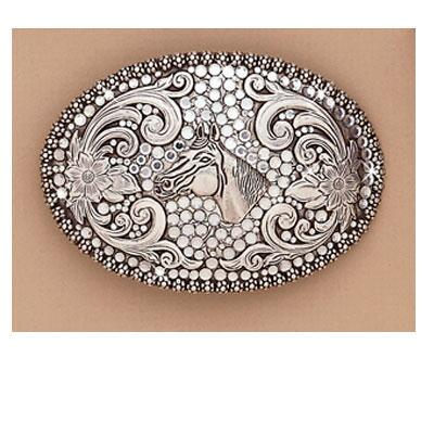Buckle Ladies Oval With Horsehead And Rhinestones