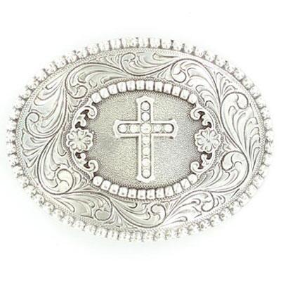 Buckle Oval Cross With Rhinestones