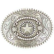 Antiqued Silver Star With Berry Edge Belt Buckle - TB