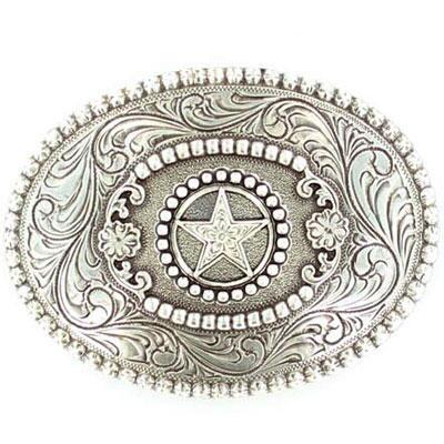 Antiqued Silver Star With Berry Edge Belt Buckle