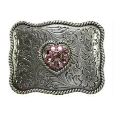 Nocona® Pink Heart Floral Engraved Kids Belt Buckle - TB