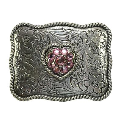 Nocona® Pink Heart Floral Engraved Kids Belt Buckle