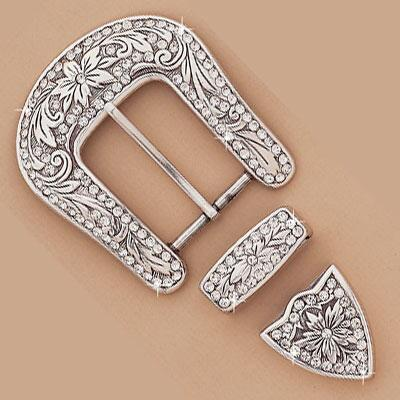 Buckle Set 3 Piece With Clear Rhinestones