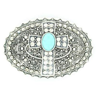 Belt Buckle Oval With Crystal Cross And Turquoise