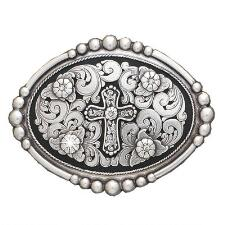 Floral Engraved Beaded Edge Cross Belt Buckle - TB