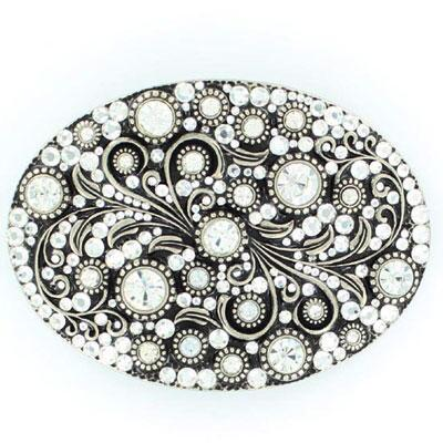 Belt Buckle Ladies Crystal Floral Scroll