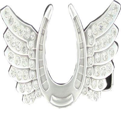 Belt Buckle Horseshoe With Rhinestone Wings