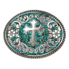 Blazin Roxx Turquoise Stone Cross Ladies Belt Buckle - TB