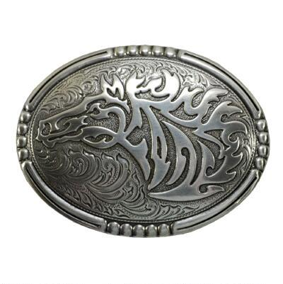 Engraved Wild Horse Belt Buckle with Beaded Edge