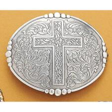 Belt Buckle Oval Cross With Beads