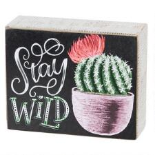 Stay Wild Cactus Chalk Art Box Sign - TB