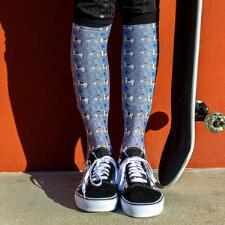 Dreamers and Schemers Blue Ribbon Boot Socks Pair and A Spare - TB
